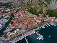 Old city in Bay of Kotor - aerial view
