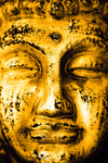 The golden face of the Buddha