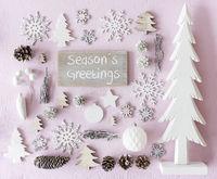 Christmas Decoration, Flat Lay, Text Seasons Greetings