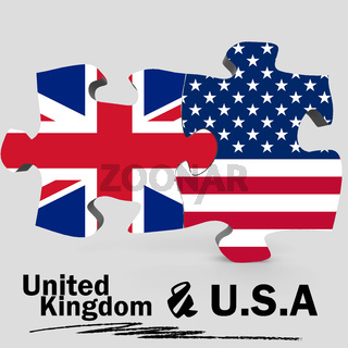 USA and United Kingdom flags in puzzle