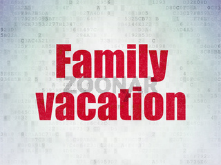 Tourism concept: Family Vacation on Digital Data Paper background