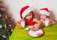 Two girls near Christmas tree