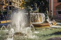 The Baroque Fountain In The Plaza de la Virgen, Valencia, Spain