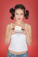 girl with sweet dessert