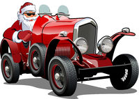Cartoon Christmas retro car