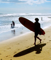 Silhouette of surfer on beach