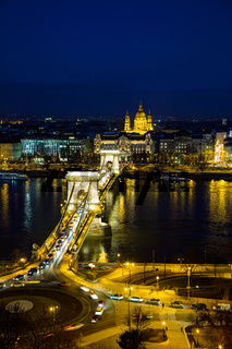 Overview of Budapest with the Szechenyi Chain Bridge