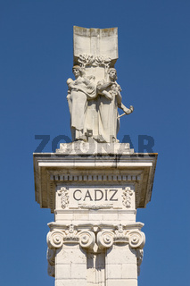 Detail of Monument to the Constitution of 1812 at Spain Square in Cadiz, Spain