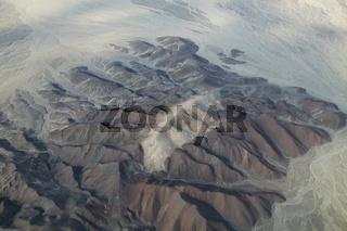 Aerial view of Pampas de Jumana near Nazca, Peru.
