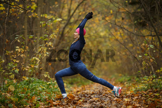 Girl at gym in forest