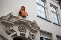 architectural details on the buildings in the city of Bruges