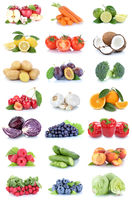 Obst und Gemüse Früchte Sammlung Äpfel, Orangen Tomaten Beeren Salat Essen Freisteller
