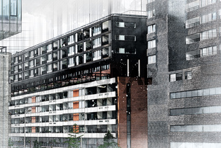 Architect drawing of modern apartment building. Watercolor and ink