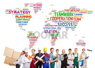 Teamwork international mit vielen Berufen