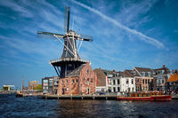 Harlem landmark windmill De Adriaan on Spaarne river. Harlem,