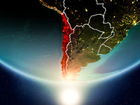 Chile with sun on planet Earth