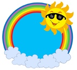 Cartoon Sun with sunglasses in rainbow circle - isolated illustration.