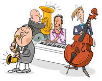 musicians characters playing jazz music