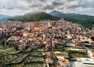 Aerial view of Moratalla town. Spain