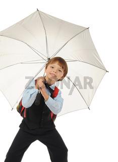 Schoolboy with a umbrella.