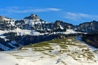 Blick zum Gipfel Hoher Kasten, Alpstein,  Kanton Appenzell Ausserrhoden, Schweiz