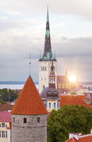 City panorama from an observation deck of Old city's roofs. Tallinn. Estonia