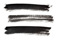 Set of long ink black brush strokes