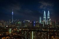 Kuala Lumpur city skyline night scene