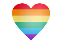 rainbow heart shape over white background