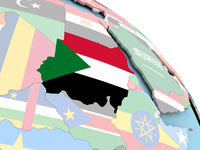 Flag of Sudan on globe