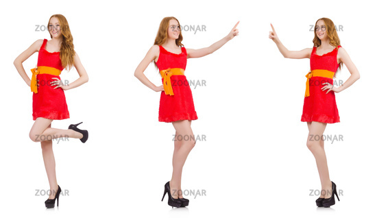 Young nice girl pressing isolated on white