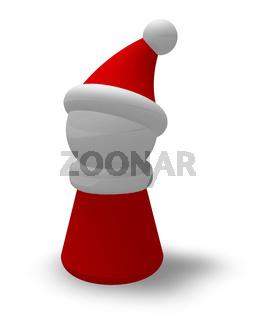 spielfigur mit weihnachtskostüm auf weißem hintergrund - 3d rendering