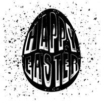 Typography Design of Print with Egg Lettering Silhouette. Happy Easter Banner