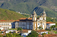 View of historic church in downtown of Ouro Preto city