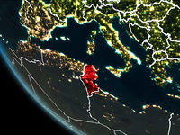 Satellite view of Tunisia at night