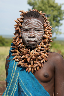 Mursi Mädchen, Äthiopien, Afrika