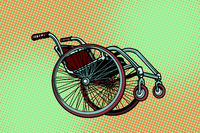 Realistic wheelchair, symbol International Day of Persons with D