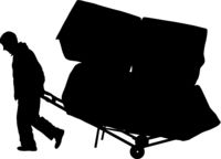 Black silhouette hard worker pushing wheelbarrow and carry big box isolated on white background