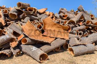 Heap of cork tree bark as raw material