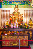 Shui Wei Sheng Niang goddess statue and altar in the chinese temple.