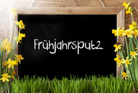 Sunny Narcissus, Chalkboard, Fruehjahrsputz Means Spring Cleaning