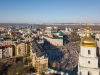Aerial top view of Kiev city skyline from above, Kyiv cityscape capital of Ukraine