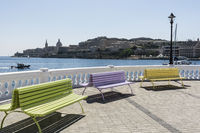 Benches on the embankment of Malta