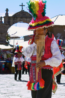 Musicians and Dancers During a Festival on Taquile Island at Lake Titicaca in Puno Peru.