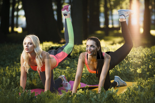 Young strong girls do exercises during street workout