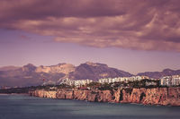 Sea shore and coastal cliffs in Antalya