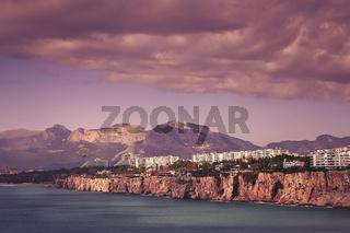 Sea shore and coastal cliffs in Antalya