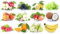 Früchte Frucht Obst Collage Apfel Orange Banane Orangen Beeren Äpfel Birne Trauben Freisteller freigestellt isoliert
