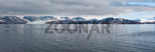 Mountain range and glacier in Svalbard islands