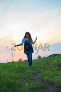 Young woman walks